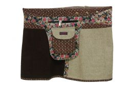 Braun Flower Wickelrock Mini Wolle S-M-L-XL